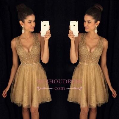 A-Line Short V-Neck Sleeveless Elegant Tulle Prom Dress UKes UK_1