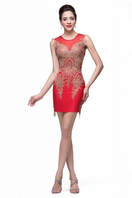 Elegant Red Golden Appliques Sheath Homecoming Dress UK Sleeveless_5
