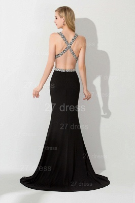 Elegant V-neck Mermaid Black Evening Dress UK Front Split Crystals_3