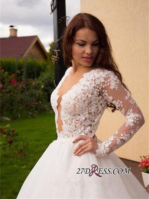 Button Tulle Elegant Princess Long-Sleeve Lace Zipper Wedding Dress_4