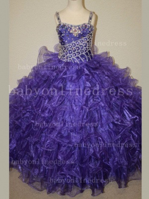 Hot Sale  for Teens Formal Gowns  Beaded  Girls Pageant Dresses With Glitz Straps_4