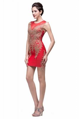 Elegant Red Golden Appliques Sheath Homecoming Dress UK Sleeveless_2