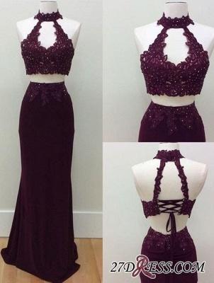 Keyhole-Neck Lace Lace-Up Two-Piece Beading Sheath Prom Dress UKes UK LY182_3