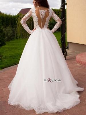 Button Tulle Elegant Princess Long-Sleeve Lace Zipper Wedding Dress_2