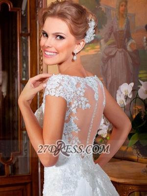 Elegant Illusion Cap Sleeve Tulle Wedding Dress Floor-length With Lace Appliques_2
