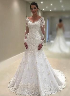 Elegant Long Sleeve Wedding Dress   Sexy Mermaid Lace Bridal Gowns_1