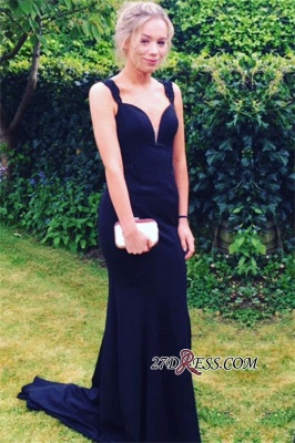 Two-straps Sexy Mermaid Long Sweep-Train Prom Dress UK_2