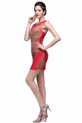 Elegant Red Golden Appliques Sheath Homecoming Dress UK Sleeveless_3