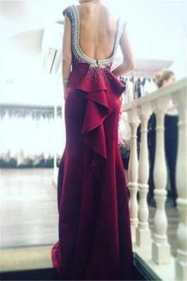 Newest Beadings Ruffles Prom Dress UK Bodycon Jewel Cap Sleeve_3