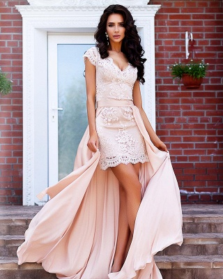 Stunning Cap Sleeve Lace Detachable Short Prom Dress UK Homecoming Dress UK BA7167_5