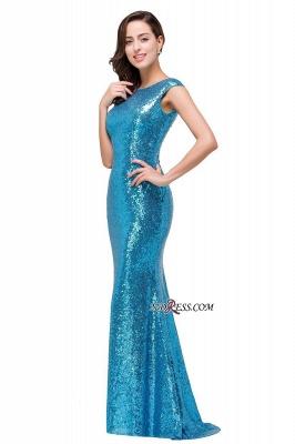 Mermaid Modest Long Sequined Blue Jewel Cap-Sleeve Prom Dress UK_4