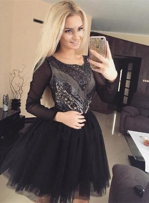 Black Long Sleeve Homecoming Dress UK   2019 Sequins Short Party Dress UK_4