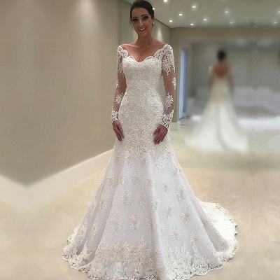 Elegant Long Sleeve Wedding Dress   Sexy Mermaid Lace Bridal Gowns_3