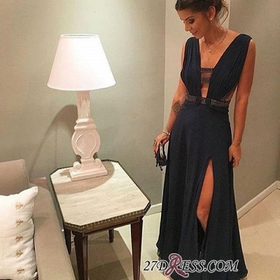 Dark-Navy Beading Deep-v-neck Floor-length Split-Front Chiffon Evening Dress UK BA5377_1