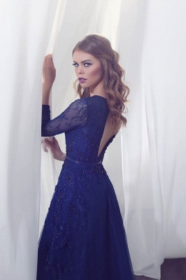Delicate Beading Long Sleeve Prom Dress UK Lace Long A-line_3