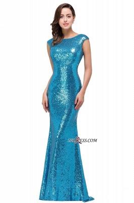 Mermaid Modest Long Sequined Blue Jewel Cap-Sleeve Prom Dress UK_3