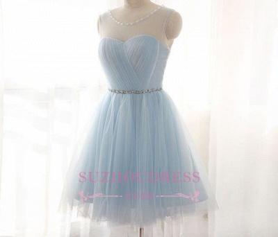 Sleeveless Newest Illusion Beads Mini A-line Tulle Homecoming Dress UK BA3644_1