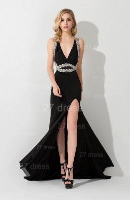 Elegant V-neck Mermaid Black Evening Dress UK Front Split Crystals_1