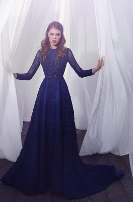 Delicate Beading Long Sleeve Prom Dress UK Lace Long A-line_1