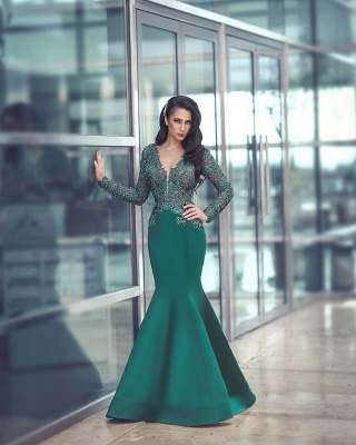 Gorgeous Long Sleeve Evening Dress UK Mermaid With Appliques MH0_3