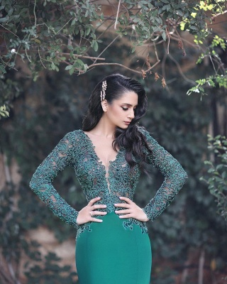 Gorgeous Long Sleeve Evening Dress UK Mermaid With Appliques MH0_4