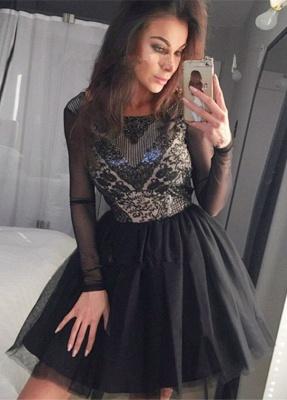 Black Long Sleeve Homecoming Dress UK   2019 Sequins Short Party Dress UK_1