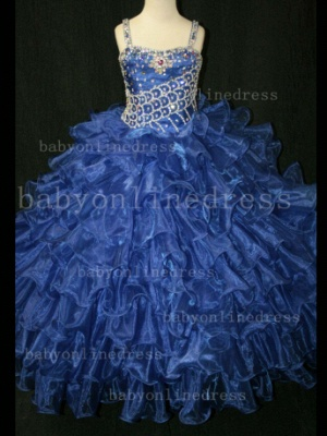 Hot Sale  for Teens Formal Gowns  Beaded  Girls Pageant Dresses With Glitz Straps_5