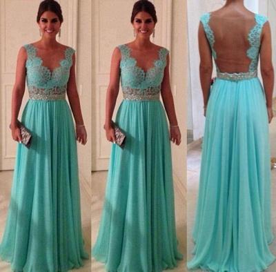 Elegant Lace Sheath Long Evening Dress UKes UK Sweetheart Blue Nude Back Evening gowns with beadings chiffon_2