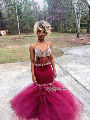 V-Neck Tulle Mermaid Luxury Crystal Prom Dress UK BK0_4