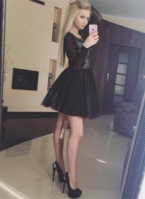 Black Long Sleeve Homecoming Dress UK   2019 Sequins Short Party Dress UK_3