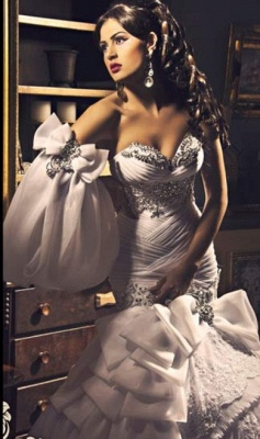 New  Sweetheart Wedding Dresses UK Organza Sexy Mermaid Bling Evening Gowns_4