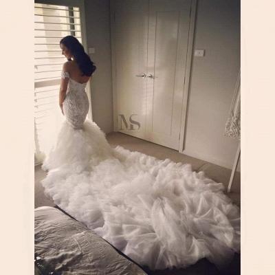 Off-the-shoulder Sexy Mermaid Wedding Dress Long Train With Ruffles_3