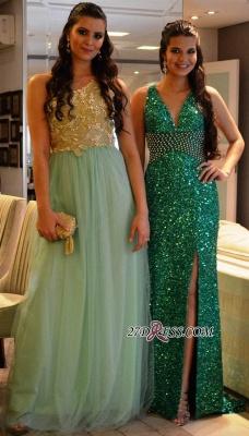 Criss-Cross Green Crystal V-Neck Side-Slit Sequined Prom Dress UKes UK_2
