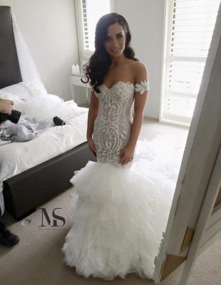 Off-the-shoulder Sexy Mermaid Wedding Dress Long Train With Ruffles_1