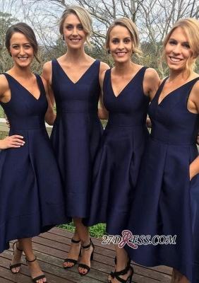 High-low A-line Sleeveless V-neck Dark-Navy Birdesmaid Dress UKes UK_2