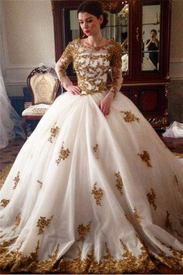 Elegant Tulle Cheap Appliques Wedding Ball Gowns Long Sleeves Bridal Gowns_1