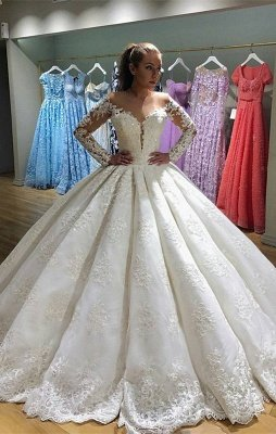 Gorgeous Long Sleeve Wedding Dress   Lace Ball Gown Bridal Gowns_1