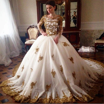Elegant Tulle Cheap Appliques Wedding Ball Gowns Long Sleeves Bridal Gowns_3