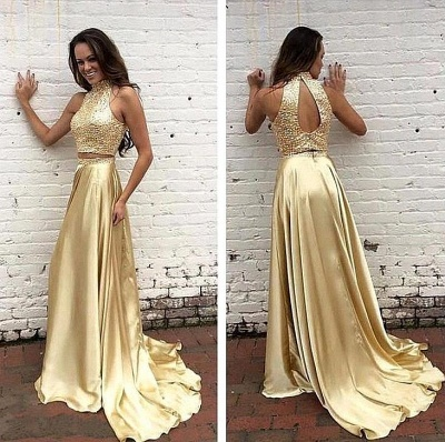 Gorgeous High-Neck two Pieces Prom Dress UK Beads_3