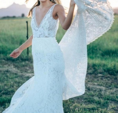 Stunning V-Neck Sleeveless Wedding Dress Full Lace With Train_6