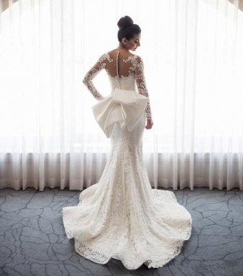 Gorgeous  Sexy Mermaid Lace Wedding Dress with Sleeves | Bowknot Detachable Overskirt Cheap Bride Dress_4