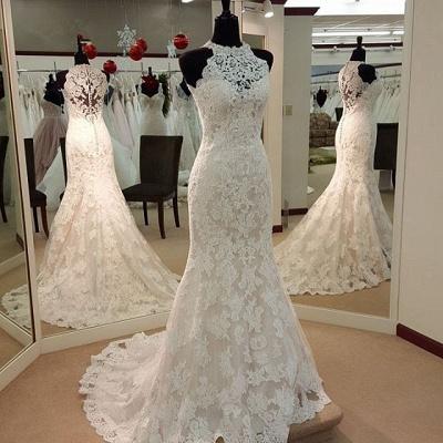 Retro High Neck Sexy Mermaid Lace Wedding Dresses UK Sleeveless Vintage Bridal Dress BA3705_3