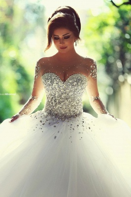 Vintage Long Sleeve Beadss Ball Gown Tulle Wedding Dress_1
