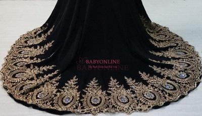 Gorgeous Elegant Black Long Sleeve Appliques Evening Dress UK_3