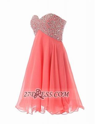 Elegant Sweetheart Sleeveless Short Homecoming Dress UK Lace-up Beadings Crystals Chiffon Cocktail Gown_2