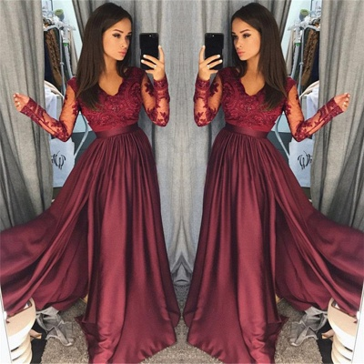 Maroon Burgundy Long Sleeve Prom Dress UK Lace With Split_3