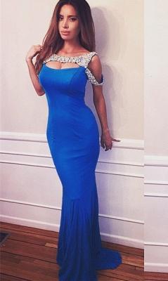 Elegant Crystals Mermaid Prom Dress UK Sweep Train_2