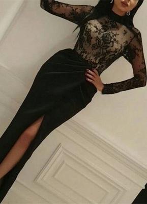 Elegant Black Lace Long Sleeve High-Neck Prom Dress UK With Split_1