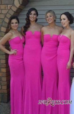 Chic Sleeveless Fuschia Simple Sheah-Column Strapless Biridesmaid Dress UKes UK_2