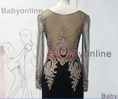 Gorgeous Elegant Black Long Sleeve Appliques Evening Dress UK_5